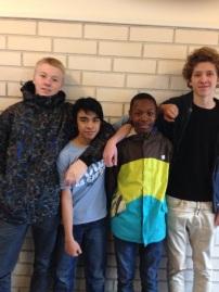 Fra venstre: Øystein, Joshua, Mabira og Mikal