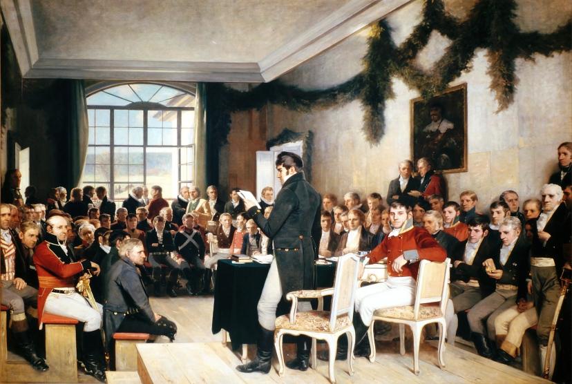 Maleri av forsamlingen på Eidsvoll i 1814